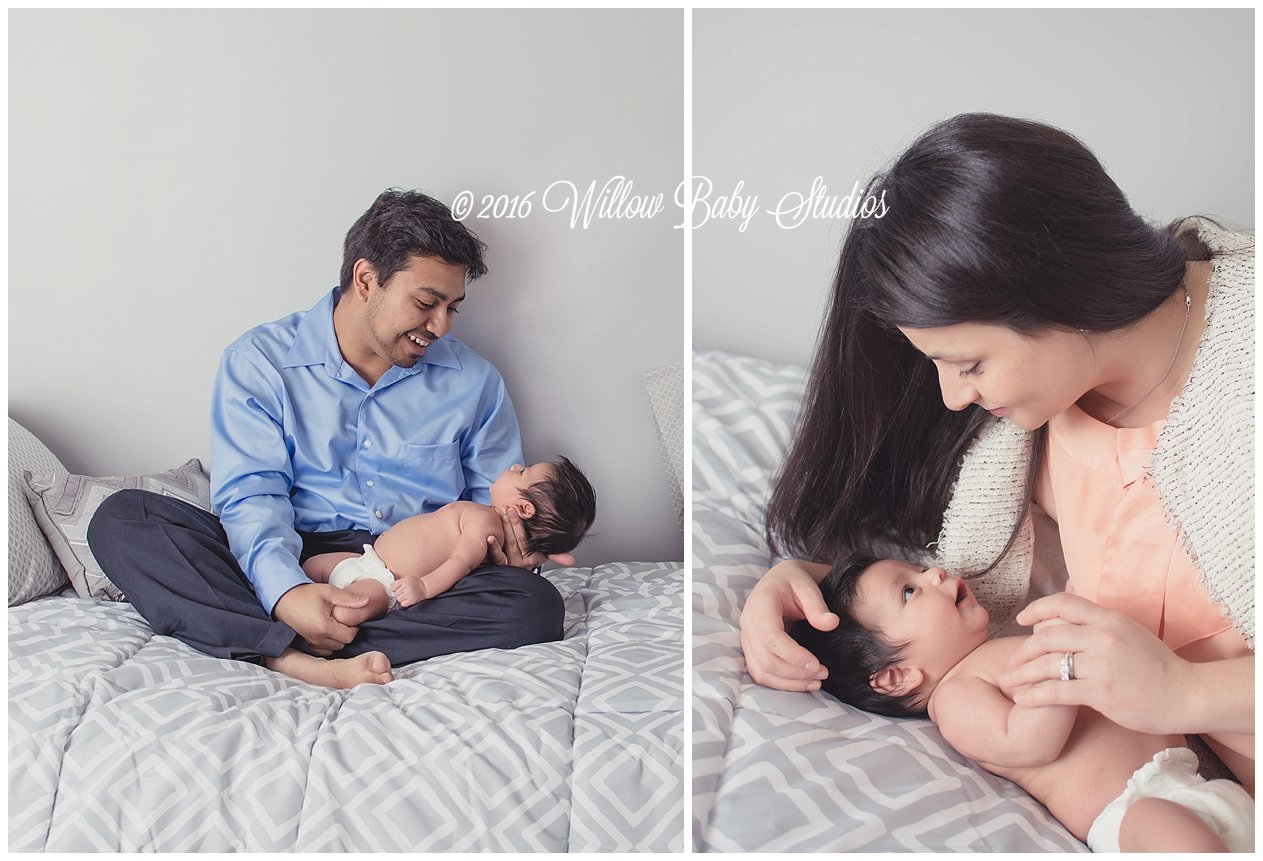 two-photos-dad-gazing-at-newborn-mom-laughing-with-baby