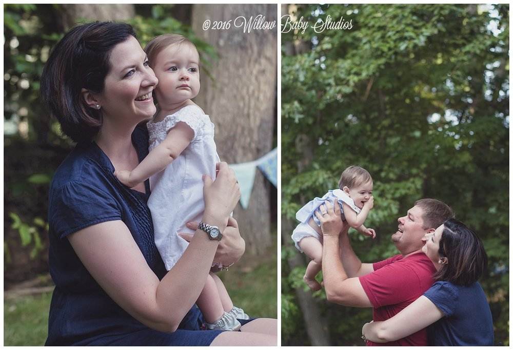 set of two photos -momma holding her one year old and mom, dad and baby playing