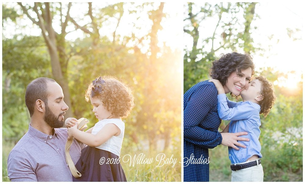 set of two photos - toddler showing her dad a toy camera and son kissing his mom on the cheek