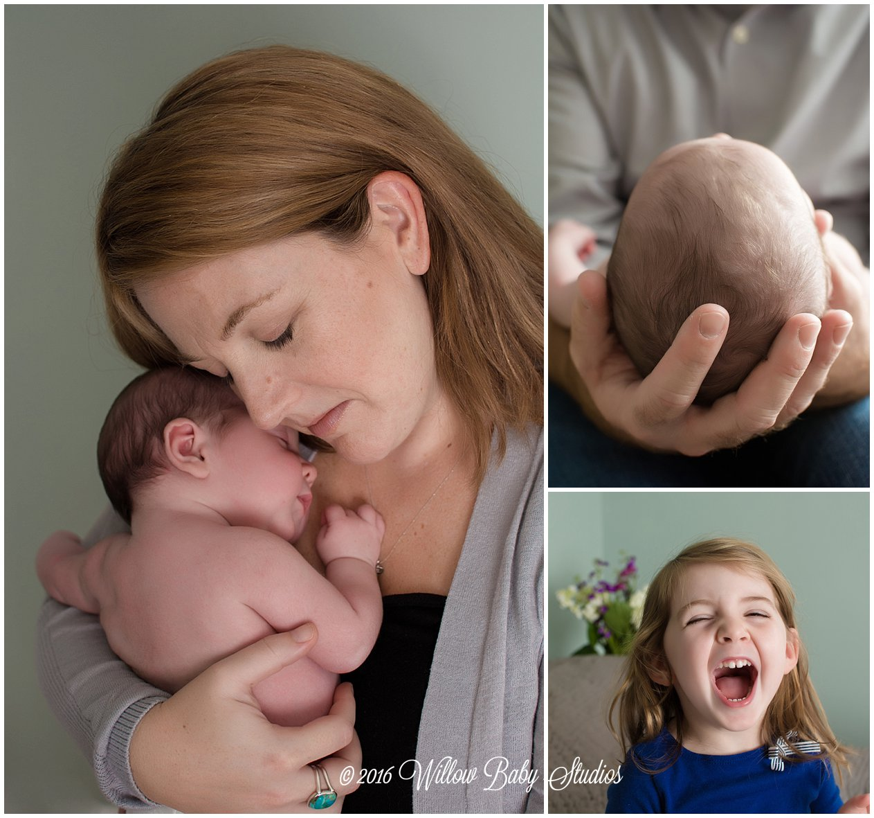 set of three photos - momma snuggling newborn son, daddy cradling his son, 3 year old yelling