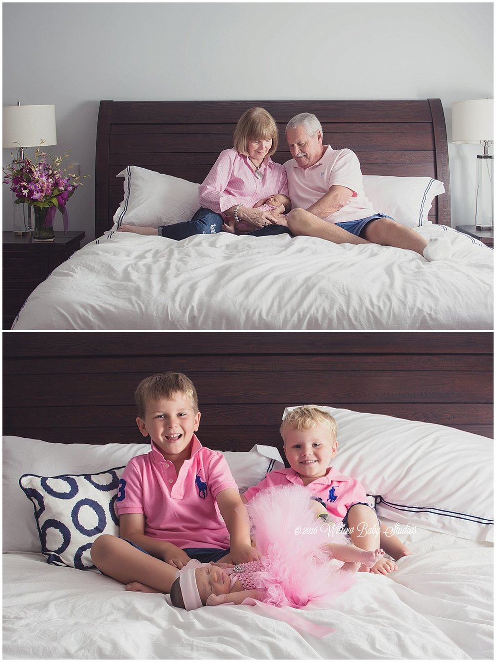 set of two photos showing two big brothers with newborn sister and grandparents with newborn boston