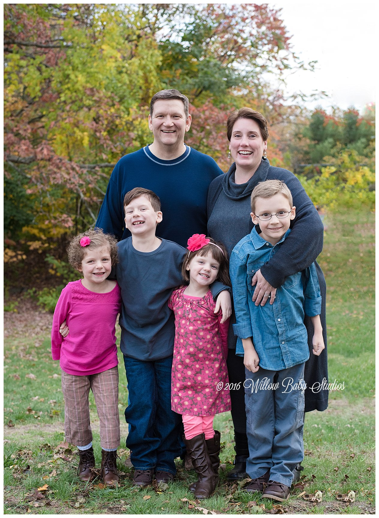 family portrait of six in the fall