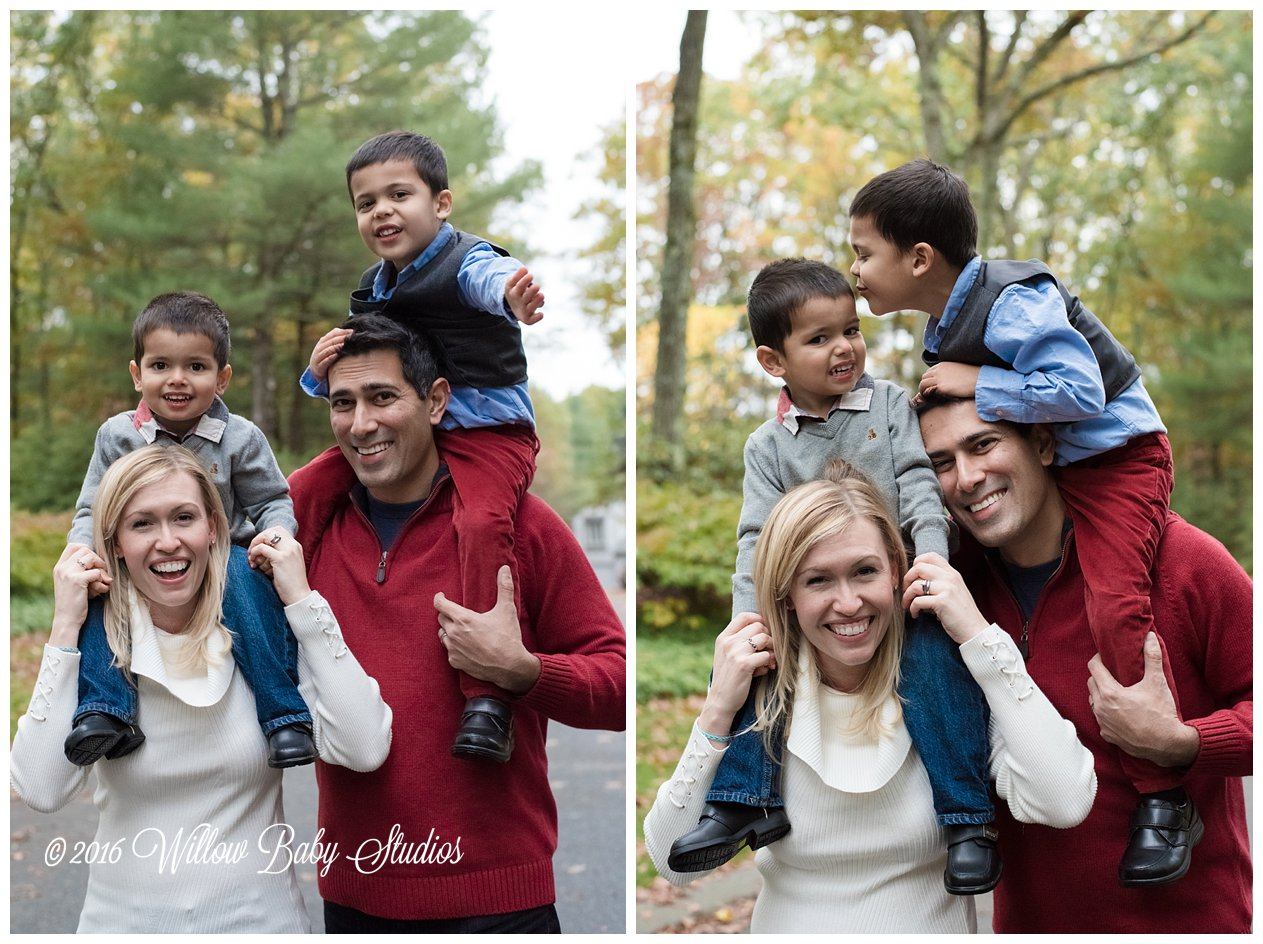 two family photos of parents giving their young boys piggybacks