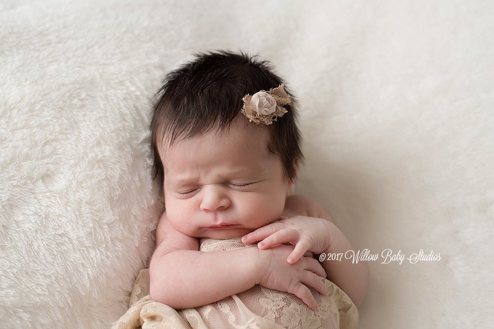 sleeping-newborn-girl-vintage-headband-lace-wrap