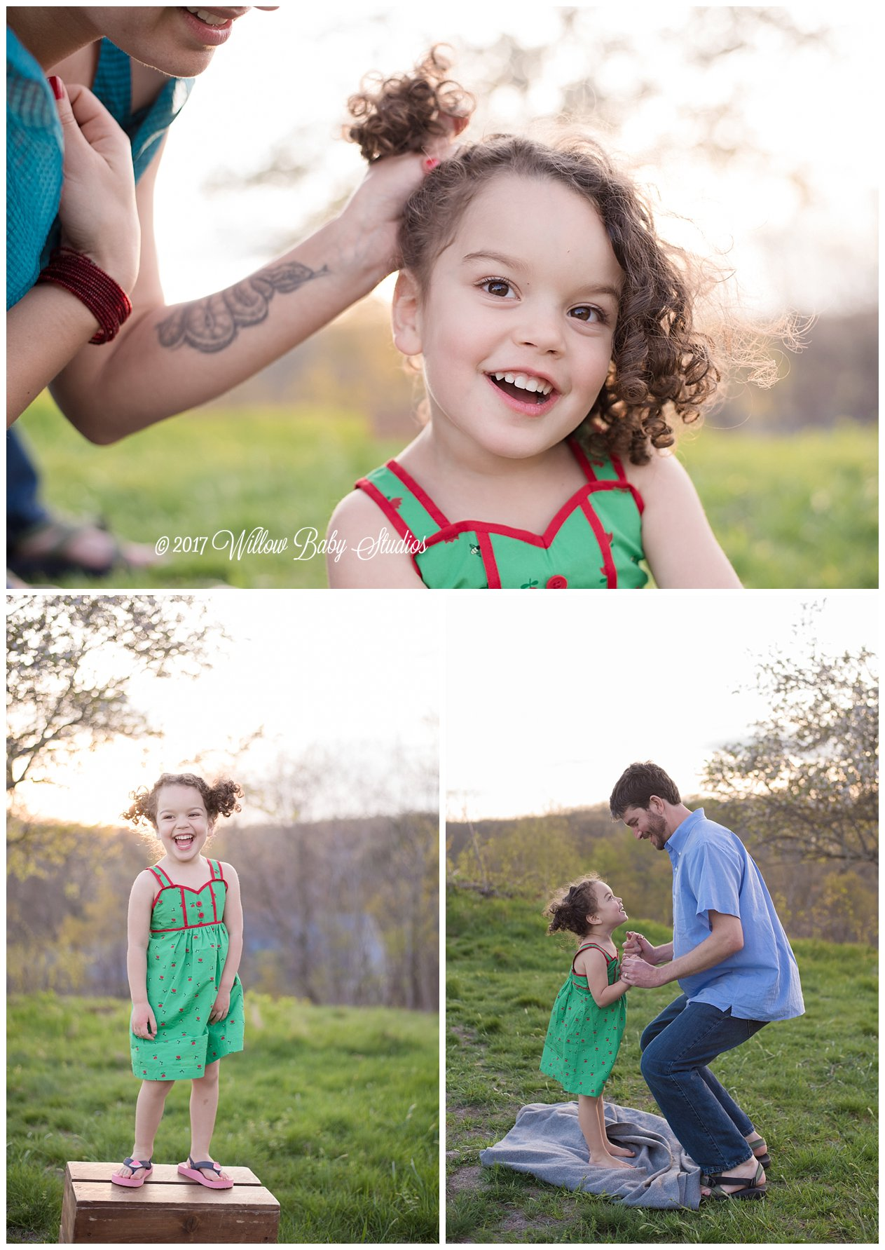 three-photos-mom-doing-daughters-hair, dad lifting daughter