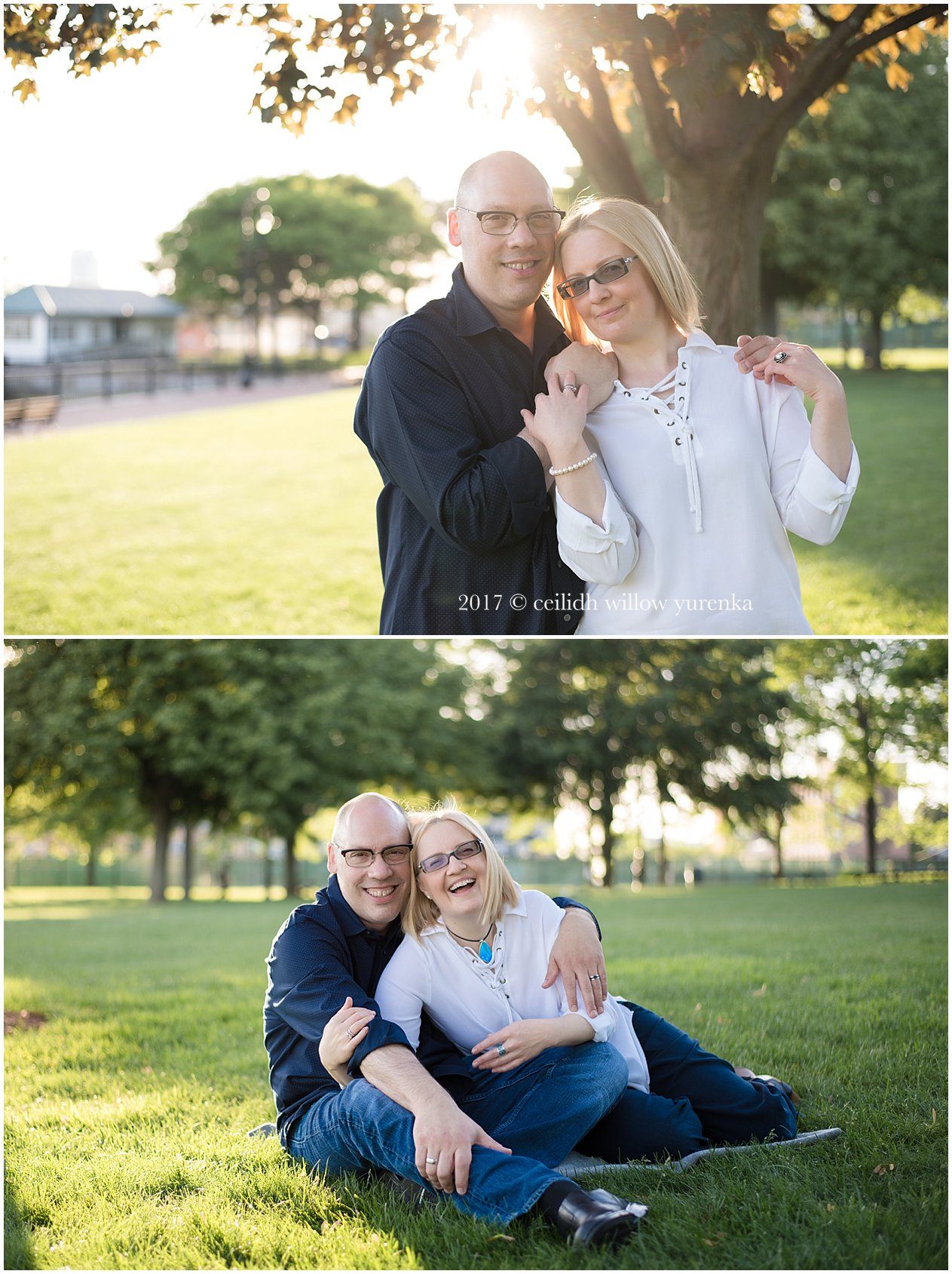 set of two photos of a couple snuggling outdoors near piers park boston