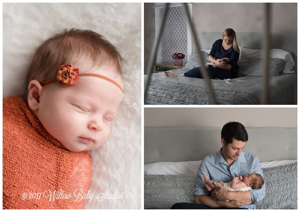set of three photos from newborn session
