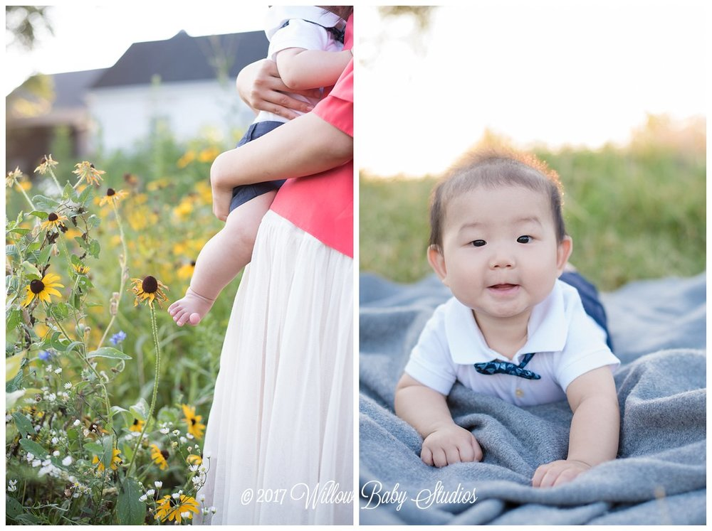6 month old baby in a bowtie at golden hour