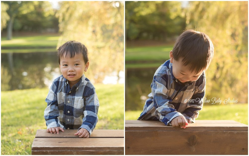 set of two photos - two year old playing outside with a wooden crate