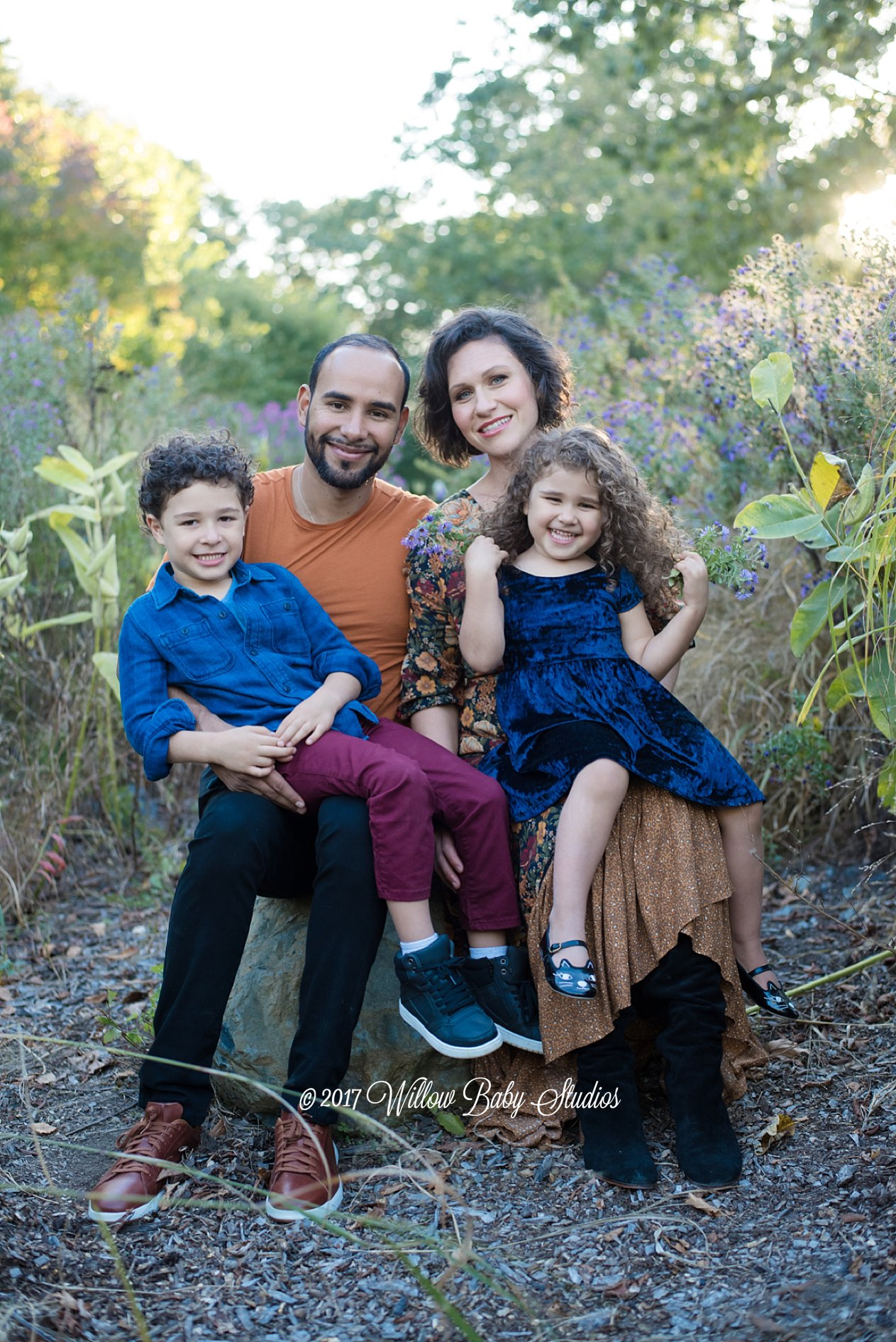 family of four fall photo