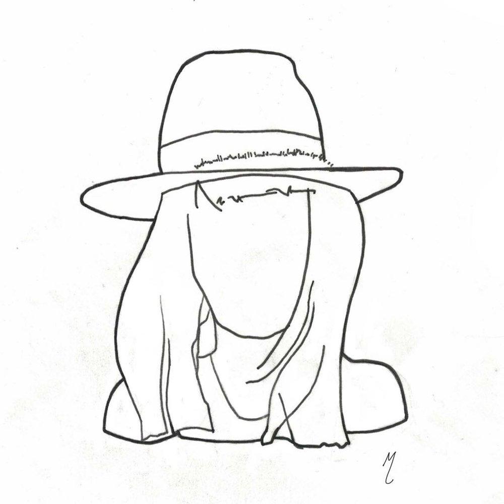 Chapeau porté droit