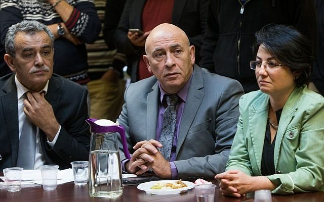 oint (Arab) List members Jamal Zahalka (left), Basel Ghattas (center) and Hanin Zoabi (right) at the weekly Joint (Arab) List meeting at the Knesset, on February 8, 2016. (Yonatan Sindel/Flash90)