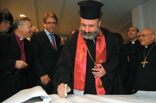 Church leaders sign the Kairos Palestine Document at its launching on December 15, 2009 in Bethlehem