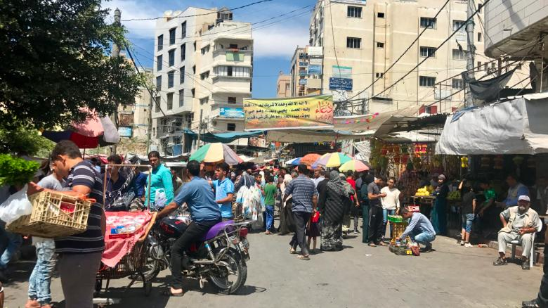A market in Gaza City on Thursday, the first day of Ramadan.