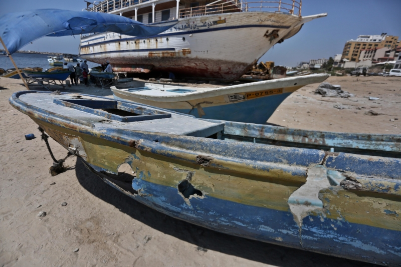 Gaza boats destroyed or nearly destroyed in Israeli attacks. Since 2000, the Israeli military has damaged more than 111 boats and equipment, according to the rights group Al Mezan.