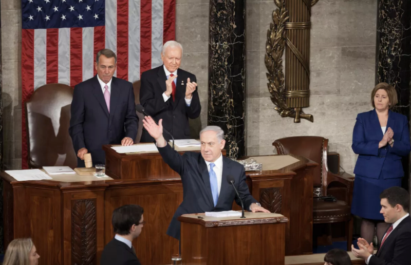 Israeli Prime Minister Benjamin Netanyahu speaks before a joint session of Congress, March 3, 2015. Photo: Heather Reed / flickr