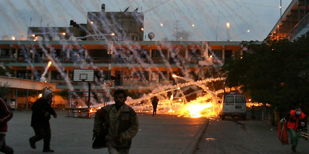 Israel targets an UNRWA-run school in Beit Lahiya, Gaza, with US-supplied white phosphorous munitions during 'Operation Cast Lead', January 17, 2009 (Iyad El-Baba/UNRWA)