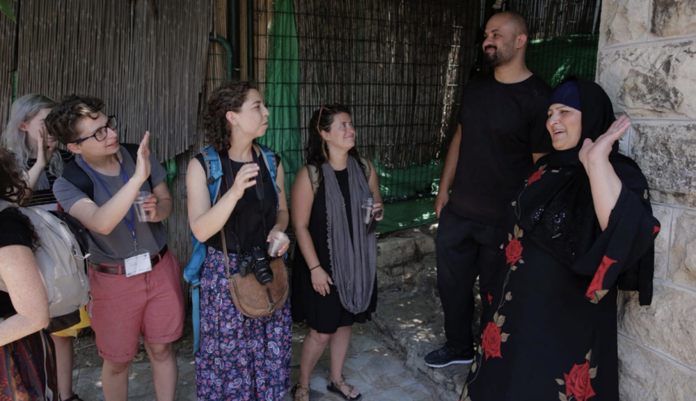American youths visit the Sumreen family home in Silwan, on July 15, 2018 (Credit: Olivier Fitoussi)