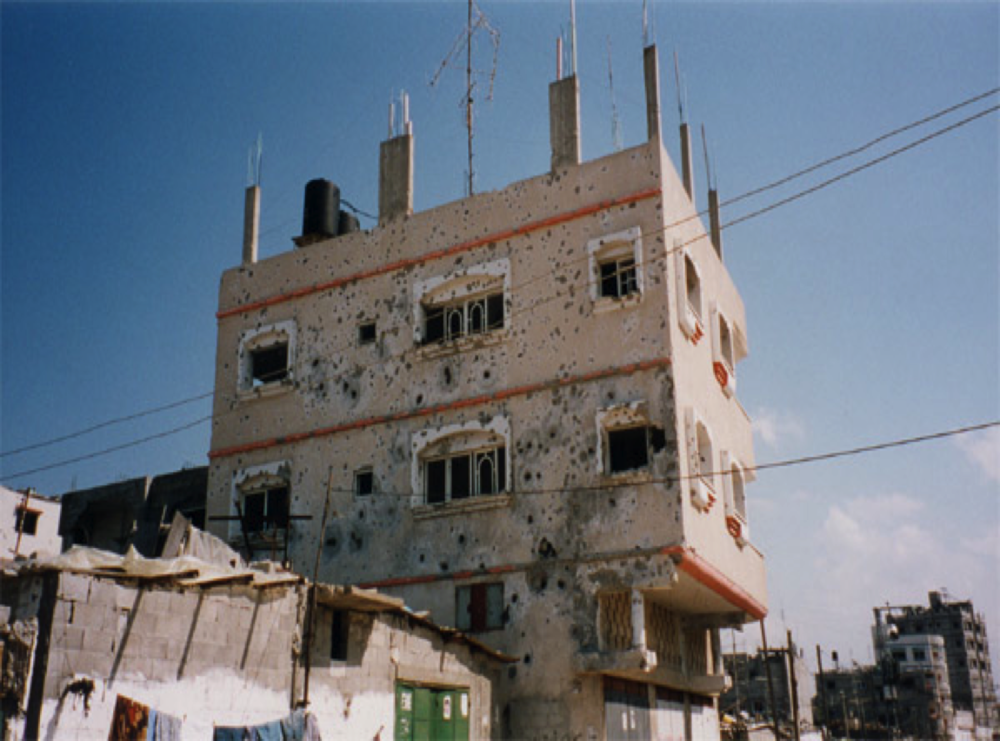 Apartment building in Gaza, photo by Alison Weir.