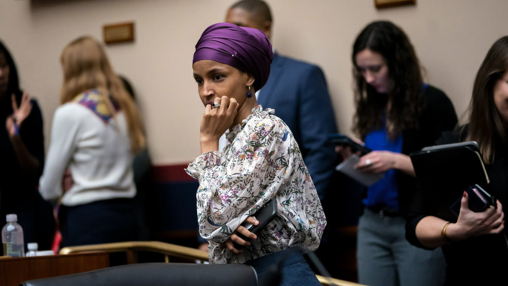 Rep. Ilhan Omar, D-Minn., arrives at the House Education and Labor Committee during a bill markup, on Capitol Hill in Washington, March 6, 2019. J. Scott Applewhite | AP
