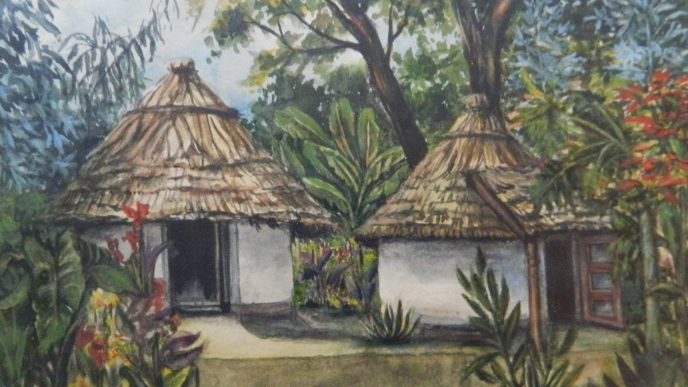 Photograph of watercolor painting of huts in Tengeru. This image appears in greyscale in the book.