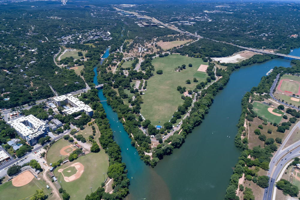 Lou Neff point, where Barton Creek meets Ladybird Lake