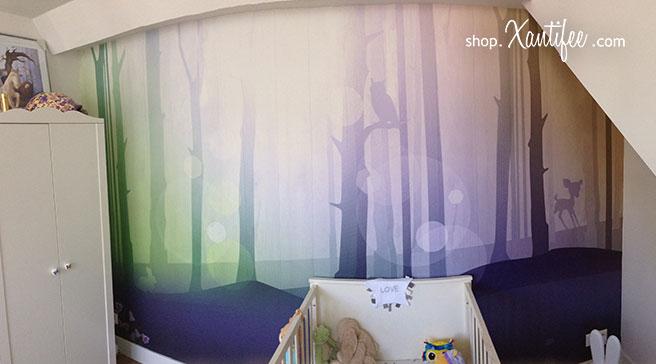 Creatief kinderkamer behang - Bij dit kaartje ontwikkelde we ook reeds creatief kinderkamer behang helemaal in het bos thema van dit kaartje.