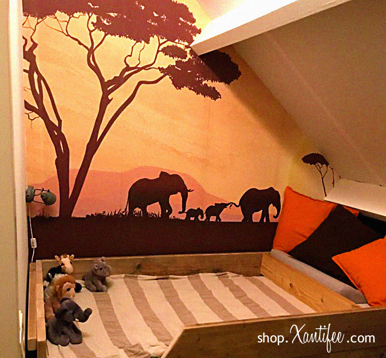 Creatief kinderkamer behang - Bij dit kaartje ontwikkelde we ook reeds creatief kinderkamer behang helemaal in het Afrikaanse thema van dit kaartje.