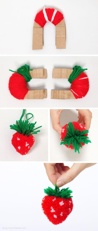 aardbeien fruit pompom DIY doopsuiker inspiratie lente zomer baby kindjes xantifee