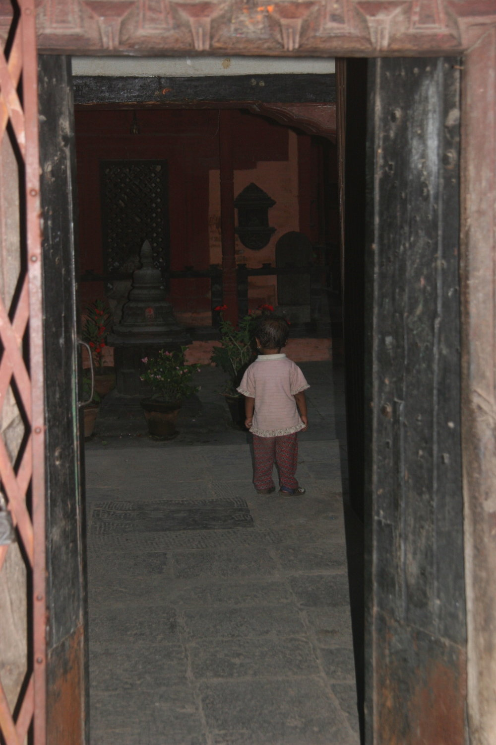 Young boy in temple