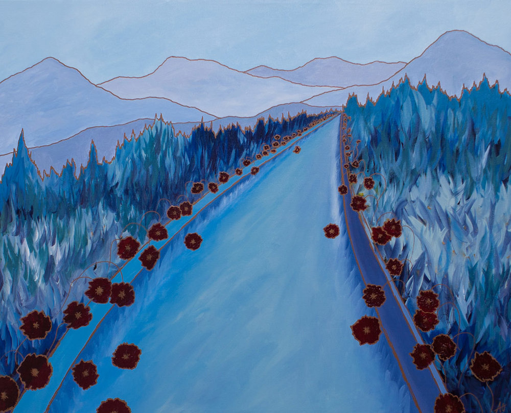 "ROAD WITH POPPIES     acrylic on canvas    Size:  24"" x 32"""