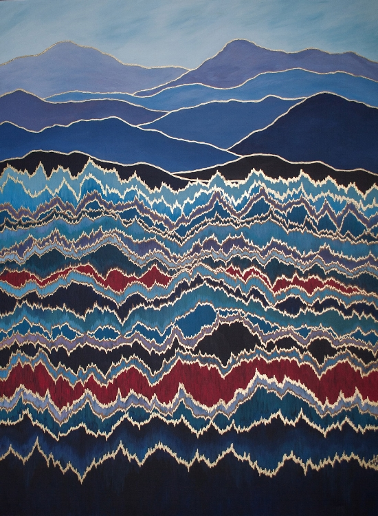 "MOUNTAIN PULSE 2    acrylic & metal leaf on canvas    Size:  36"" x 48"""