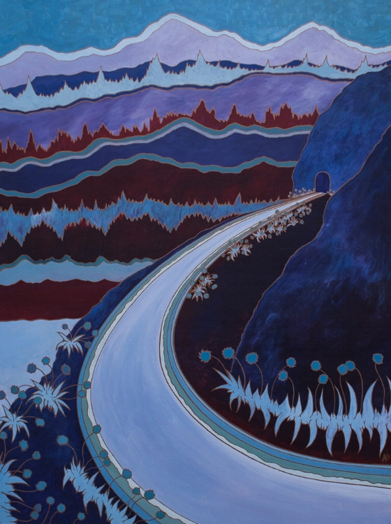 "HWY 14 WEST    acrylic on canvas    Size:  36"" x 48"""