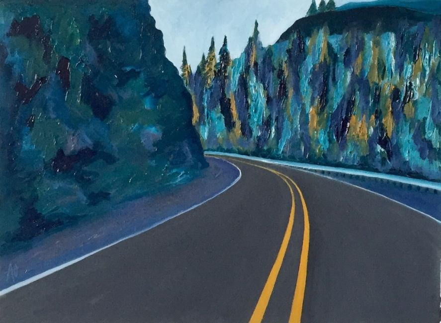 "HWY 395     oil on arches paper    Size:  11"" x 14"""