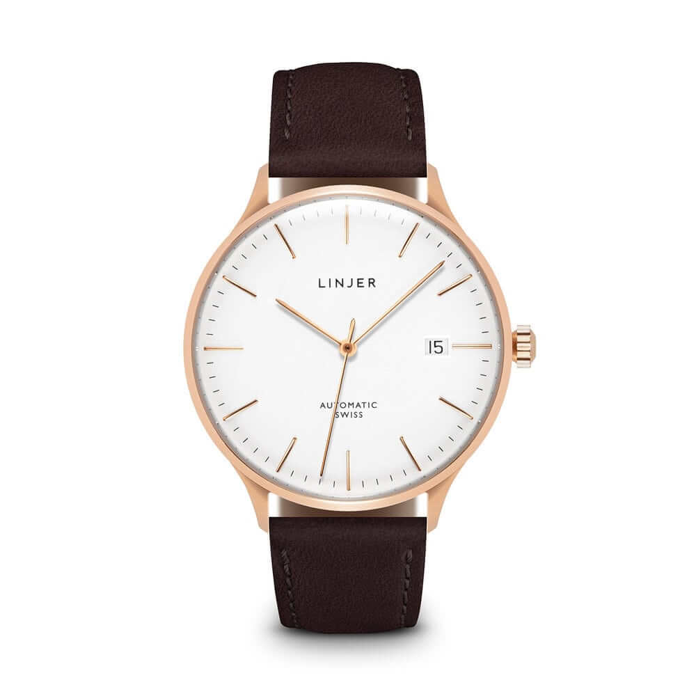 The Automatic, Rose Gold/Mocha, $549 - This automatic watch is powered by the workhorse ETA 2824-2 movement. We're impressed that Linjer have managed to get the case down to a slim 8.4mm thick. This is unheard of at the sub-$1,000 pricepoint...let alone sub-$500, where thicknesses of 11 or 12mm are more common.