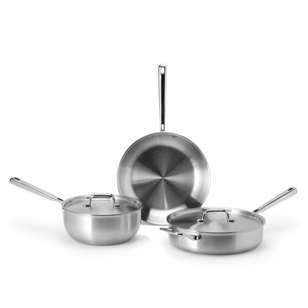 "Cookware Set - $225 - The Misen Starter Set is as the name indicates literally the perfect starter bundle of cookware for those who want to replace their old cookware with high-end basics. It includes the 10"" skillet, 3QT saute, and 3QT saucier plus lids which is the perfect assortment of cookware for households with one to two people."