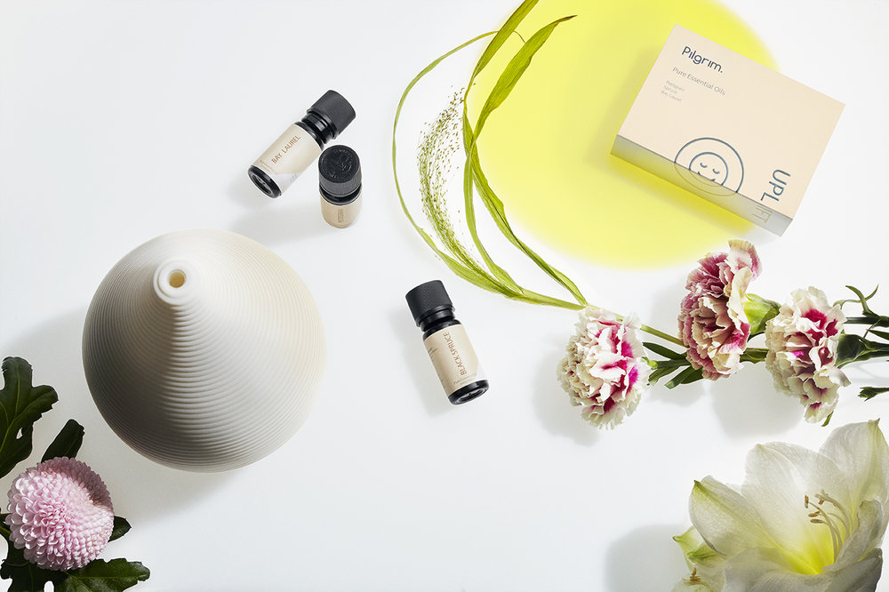 The Teo diffuser and Uplift collection of essential oils. Image courtesy of Pilgrim Collection.