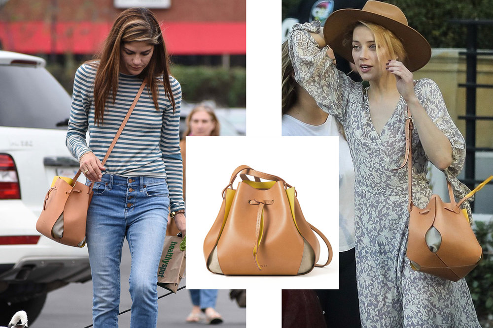 Selma Blair and Amber Heard wearing Linjer's signature Tulip Bag in Natural/Yellow ($425)