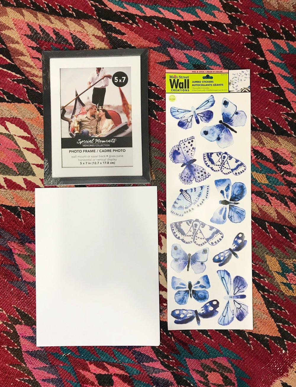 dollar store craft: diy framed butterfly art