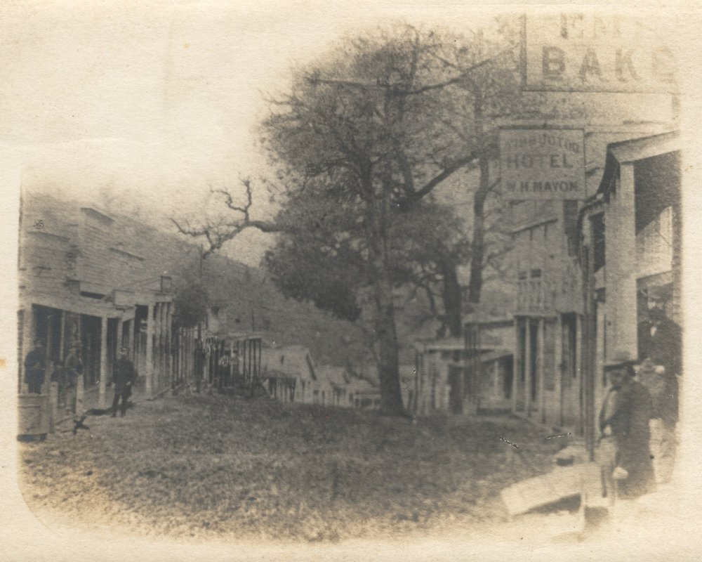 "The ""Upper End"" of Timbuctoo, California, in 1859. This is Main Street, looking roughly east to west. (Library of Congress)"