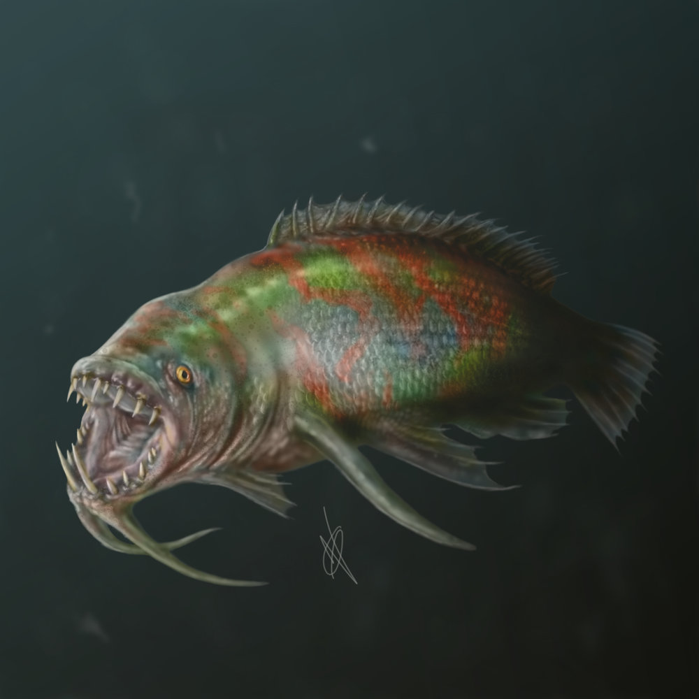 Latest fish concept. The colours were inspired by various beetles.