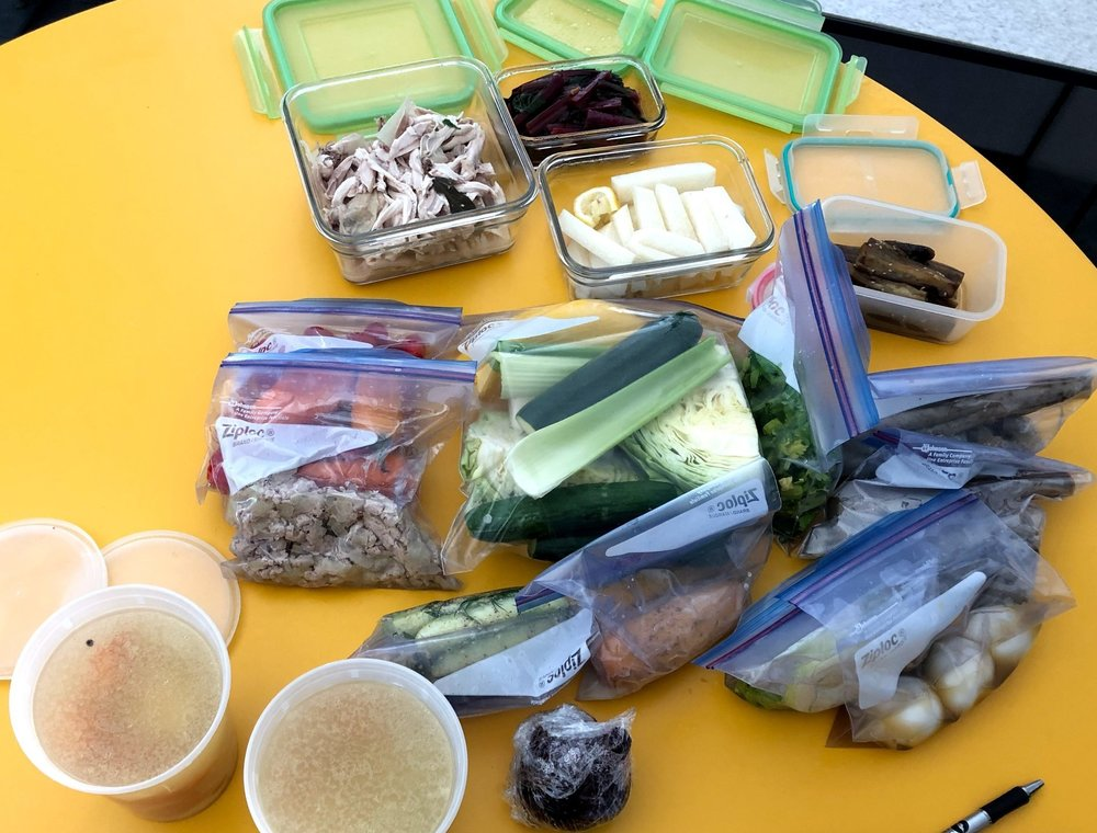 Some of the prepped foods in the class.
