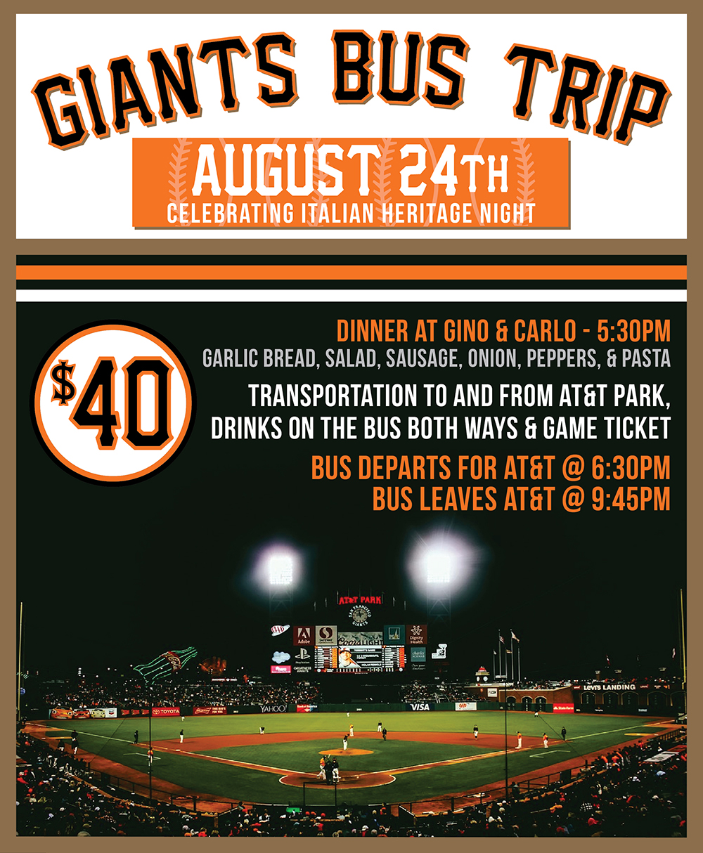 Join us on August 24th for food, drinks, and giants baseball! Stop by the bar to grab your tickets.