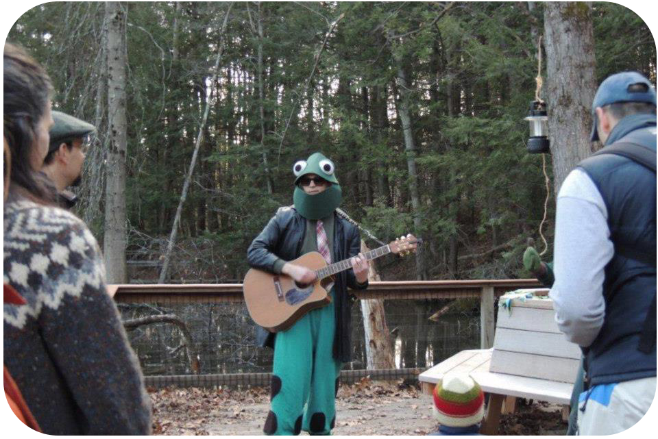 Chris performing a song about vernal pools for guests at Arcadia Wildlife Sanctuary in Easthampton, MA.