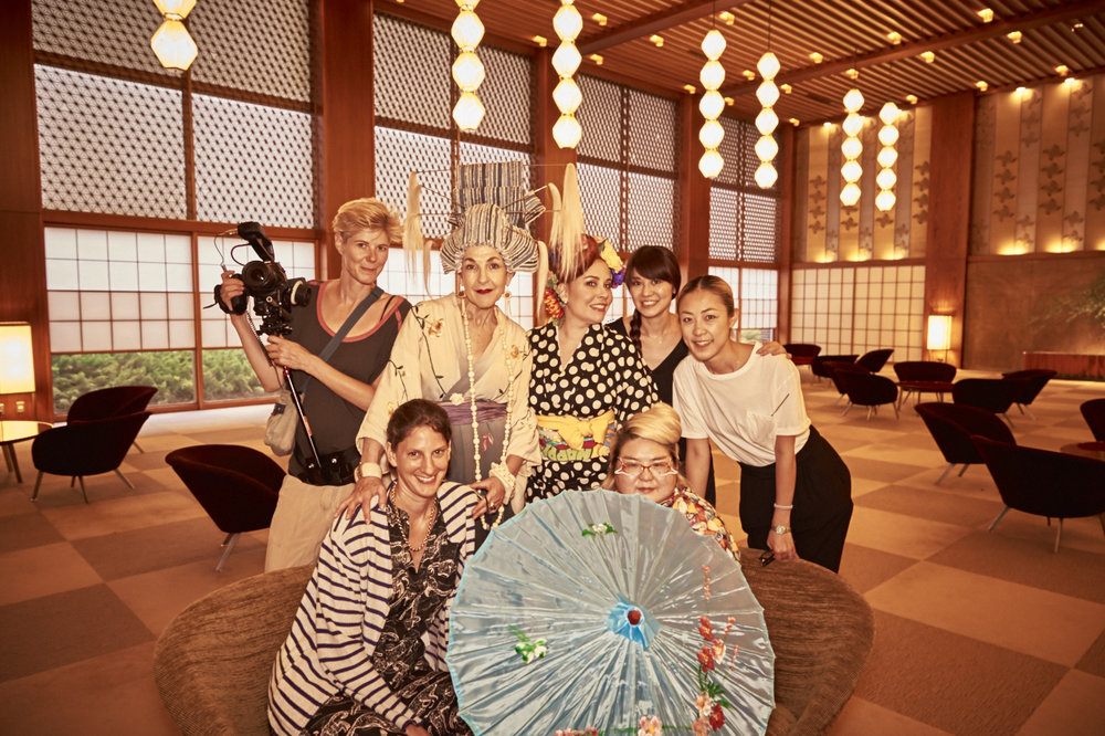 The Tour de Couture cast and crew at the Hotel Okura.