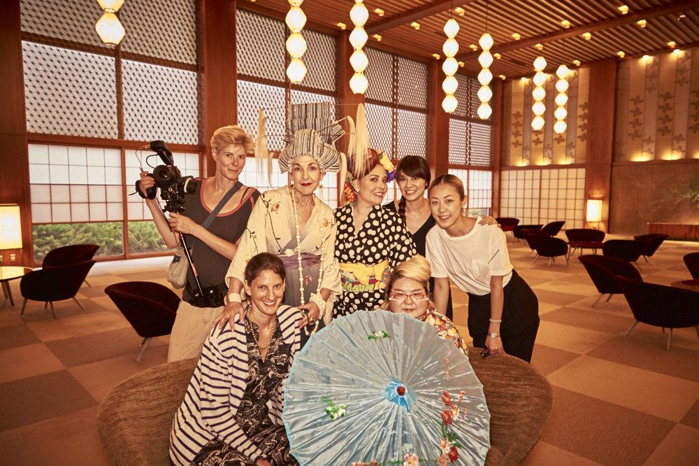 The Tour de Couture cast and crew at the Hotel Okura.