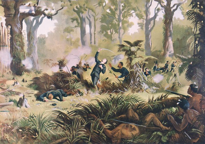 Death of Gustavus von Tempsky at Te Ngutu o Te Manu, painted by Kennett Watkins