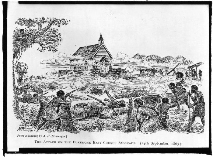 The Defence of Pukekohe East Presbyterian Church, drawn by Arthur Messenger