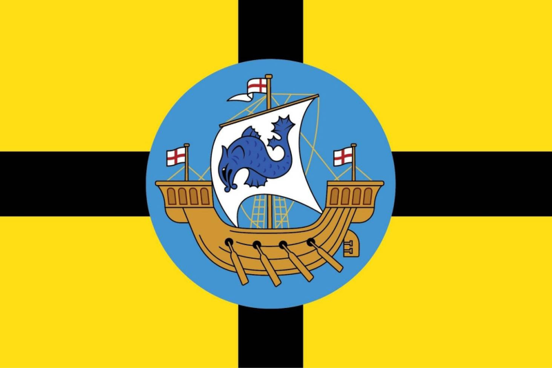 The Wellington flag was officially adopted in 1963, and was first flown  during a Royal Visit of the city. The colours, Yellow and Black, have  been synonymous with Wellington (especially sports teams) since the late  19th century, and the city badge at the centre shows an English galley,  representing both Wellington's history and its place as a port city.
