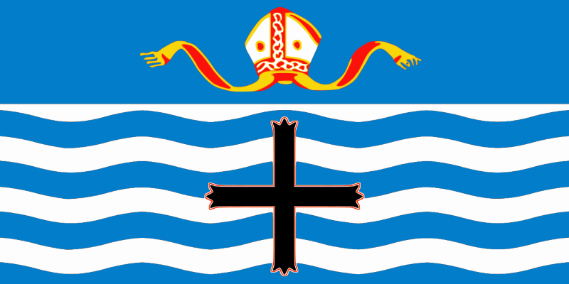 The Nelson city flag. The blue and white waves are the seas and Cook Strait, the mitre represents the city's place as centre of the Bishopric of Nelson, and  the cross is taken from the coat of arms of Admiral Horatio Nelson, the  martyr of Trafalgar, after whom the city is named.